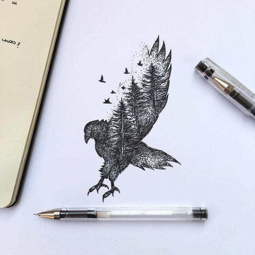 Kara Kalem Kartal Cizimi Cizimler Sanat Tattoos Drawings Ve