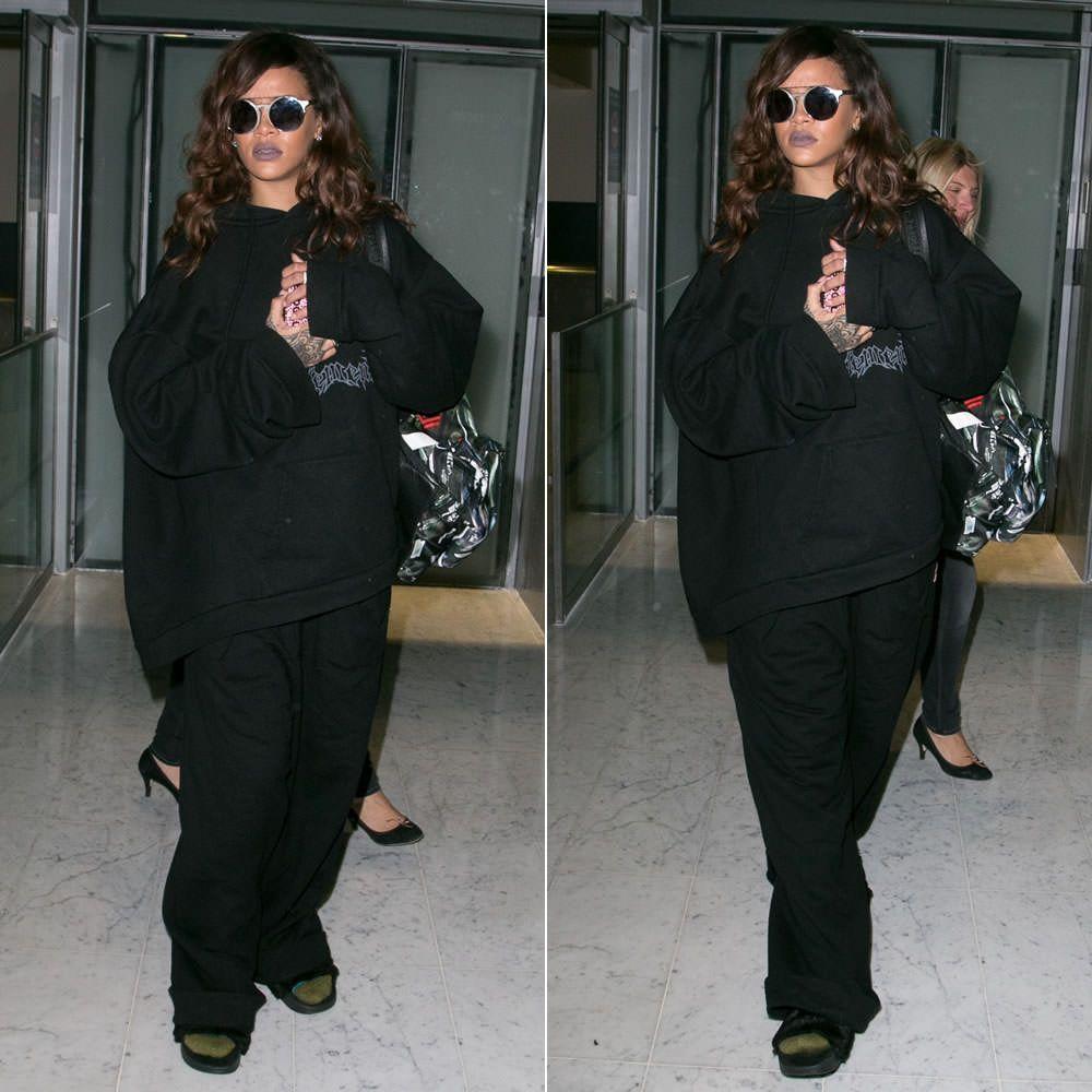 Black sandals rihanna - Rihanna Wearing Sunday Somewhere Matahari Sunglasses Vetements Hoodie Martine Rose X Been Trill Oversized