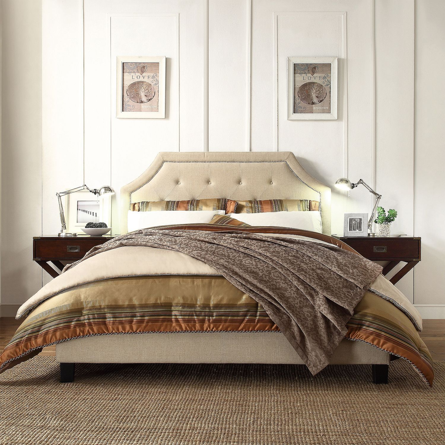 INSPIRE Q Grace Beige Linen Button Tufted Arched Bridge Upholstered  King-sized Platform Bed by iNSPIRE Q