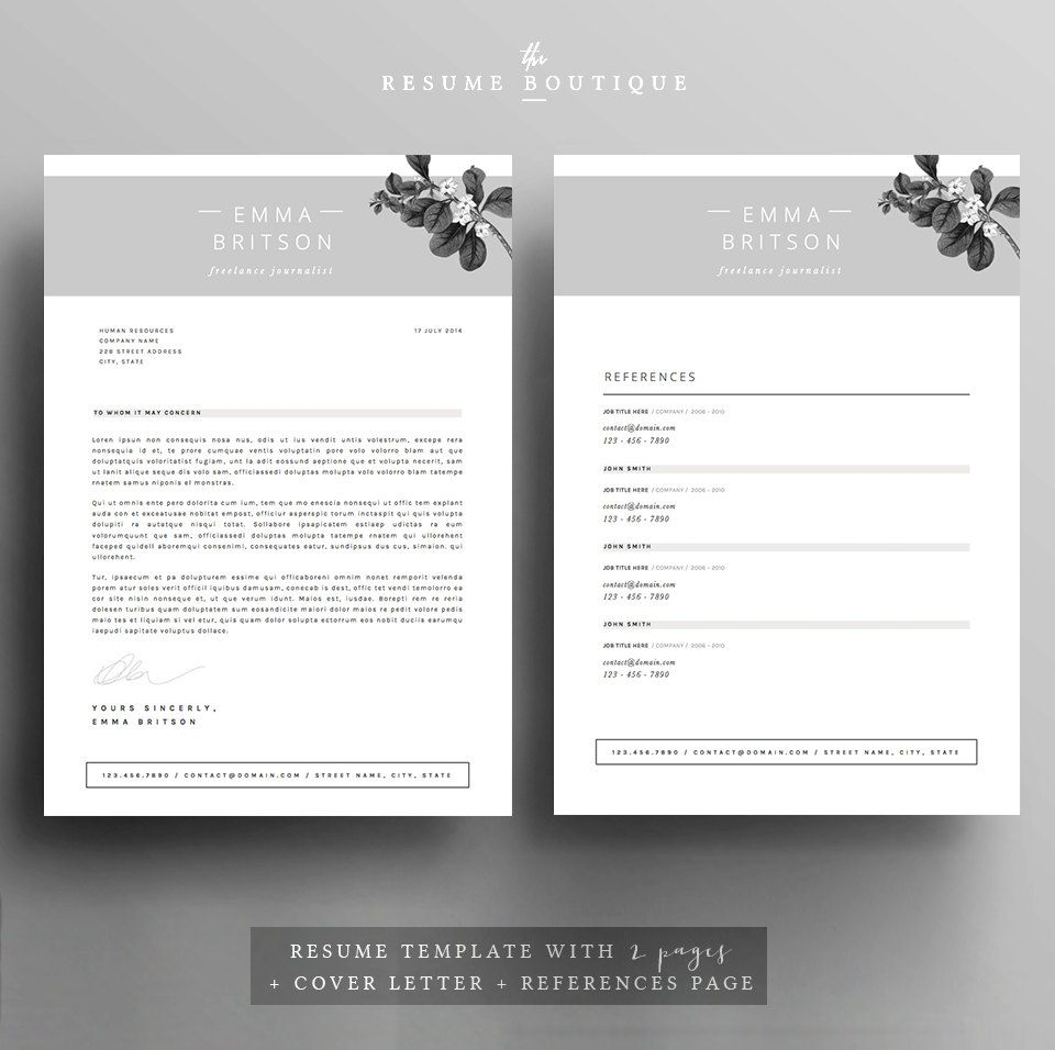 Resume Template 4page CV Template Cover by TheResumeBoutique ...