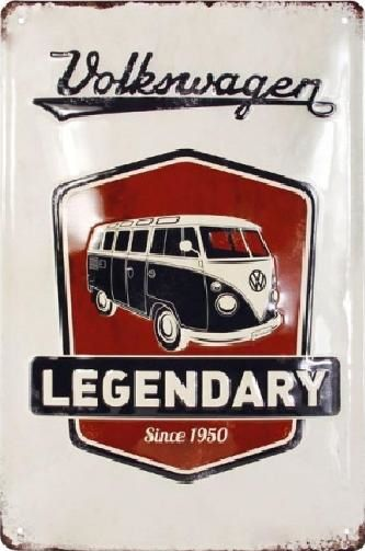 VW T1 Bus Legendary Since 1950 Metalen wandbord in reliëf 20 x 30 cm.