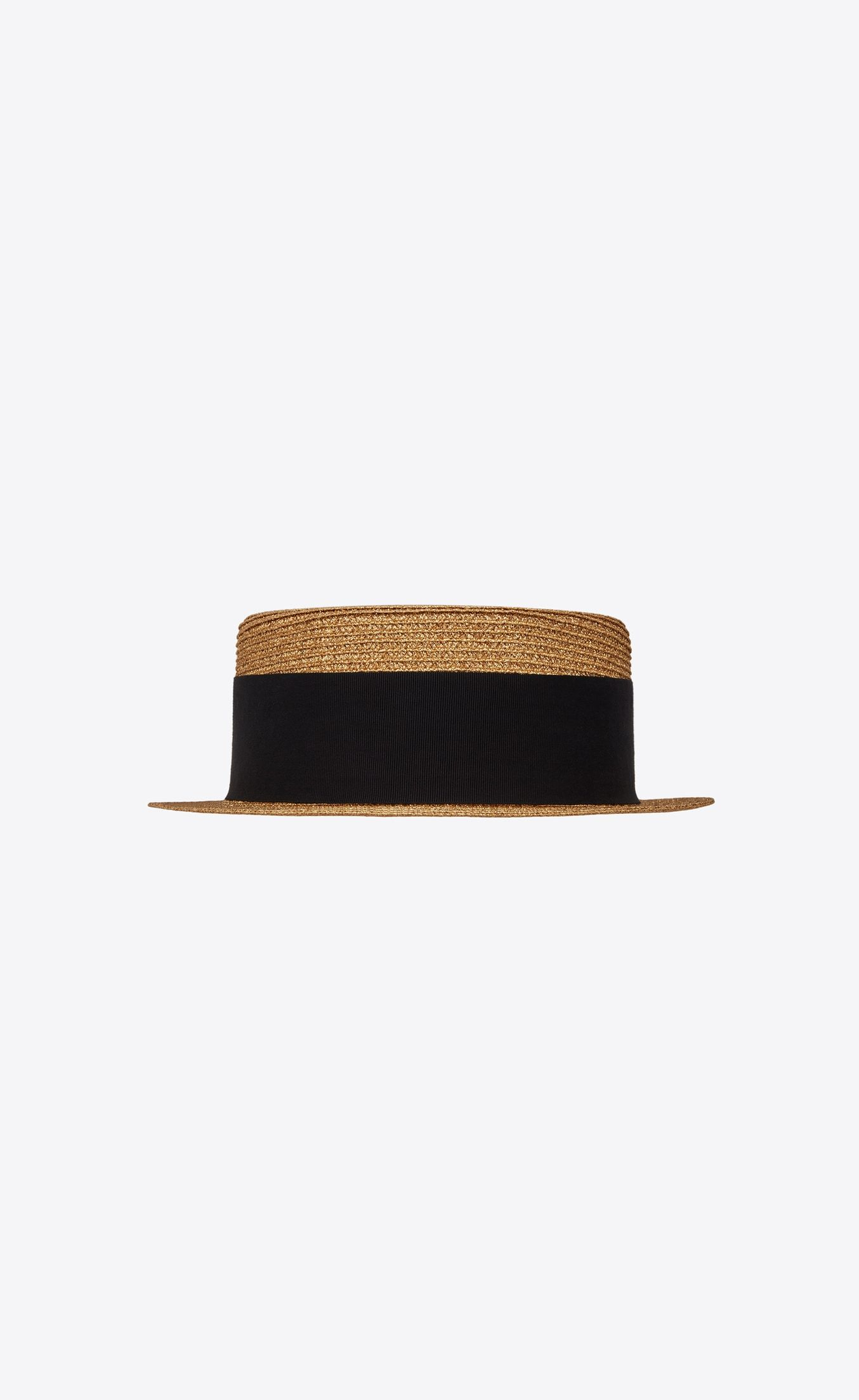 6ce3e5371bc Saint Laurent Small Boater Hat in Matte Straw