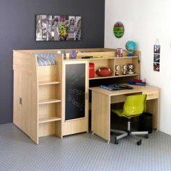 lit combiné compact avec armoire intégré bureau coulissant et ...
