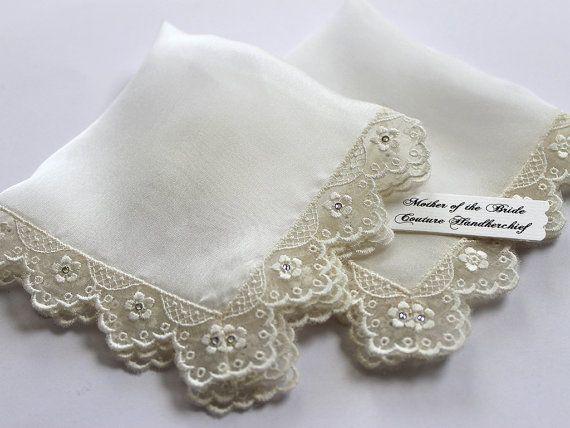 Mother Of The Bride Gift Set Wedding Handkerchief Ivory Silk Lace Hanky Bridal Hankie
