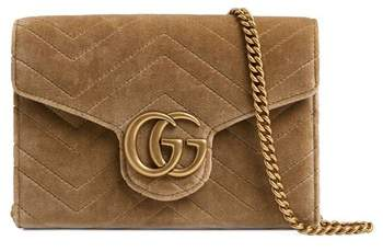 cfe2bb99958307 Gucci GG Marmont 2.0 Matelasse Velvet Wallet on a Chain | Bags ...