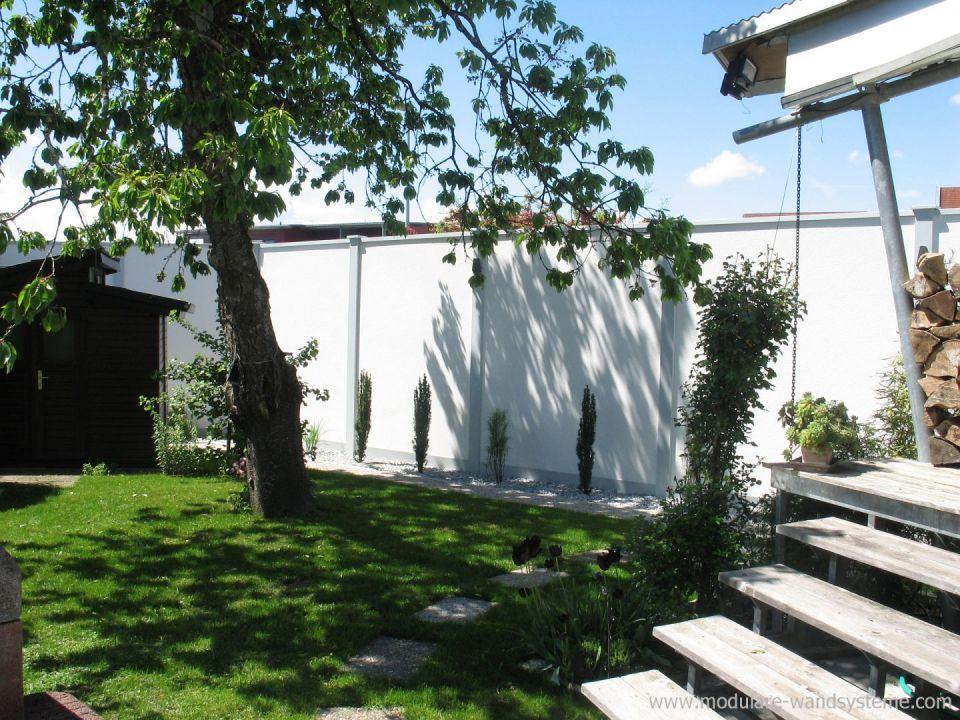 Modulare Wandsysteme Sichtschutz Larmschutz Fertigmauer 270 Cm Hohe Gartenmauer Aussenanlagen Larmschutz