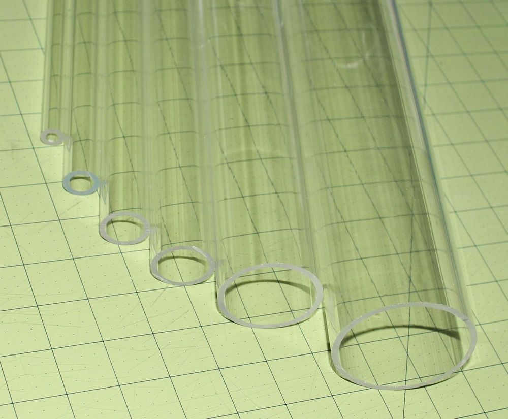 """2/"""" OD Diameter Clear Acrylic Plastic Lucite Tube Pipe 1 3//4/"""" ID 12/"""" Inch Long"""