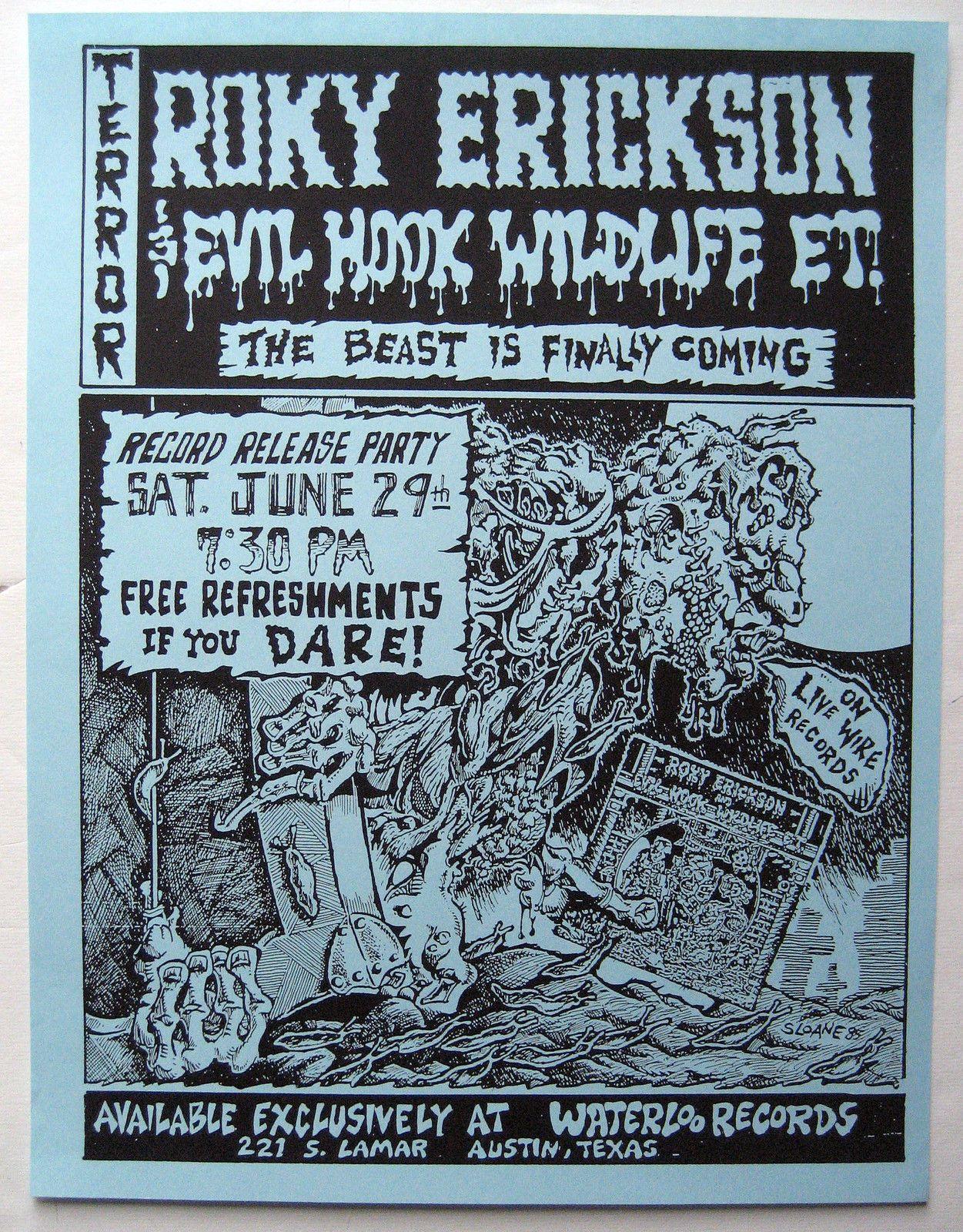 Roky Erickson 13th Floor Elevators Evil Hook Wildlife Record Release Poster | eBay
