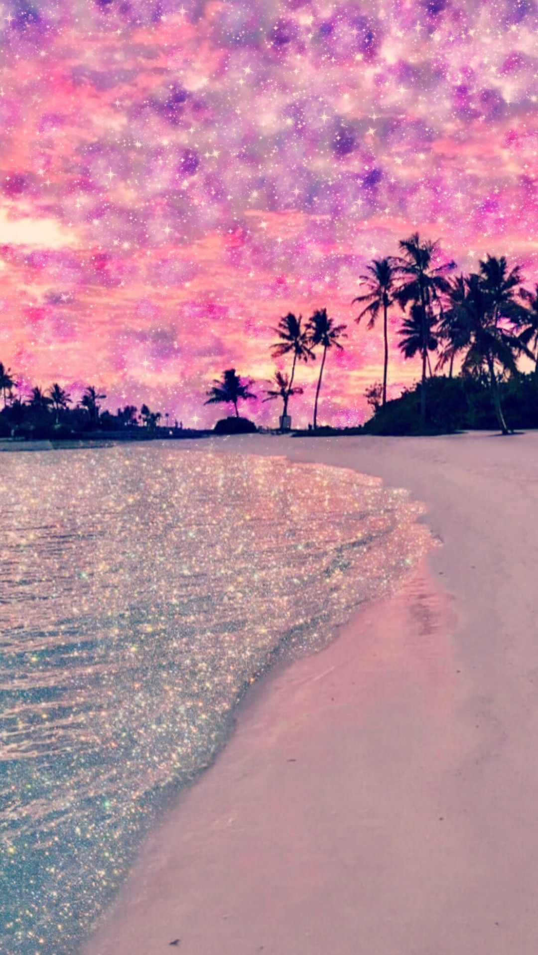 Galaxy Beach Made By Me Purple Sparkly Wallpapers Backgrounds Glitter Beautiful Wallpapers Backgrounds Pink Wallpaper Backgrounds Beach Phone Wallpaper