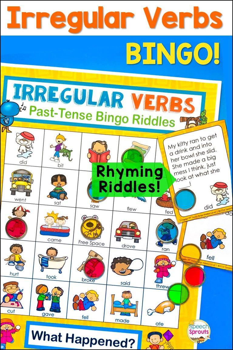 Irregular Past Tense Verbs Bingo Game Irregular Past Tense Verbs Irregular Past Tense Verbs Speech Therapy [ 1152 x 768 Pixel ]