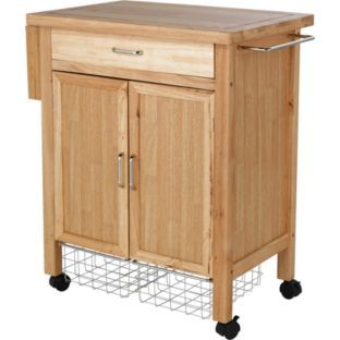 buy living deluxe rubberwood kitchen storage trolley at argos.co.uk