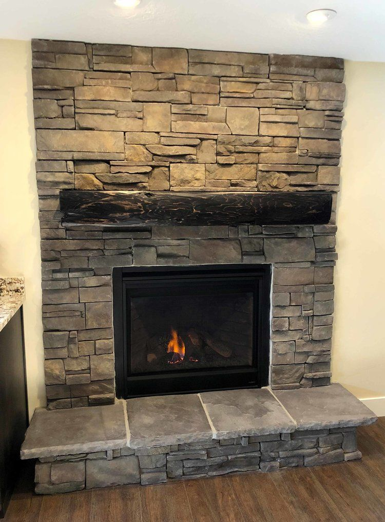 Fireplace In Basement Finihsed By Hope Custom Building In Alpine