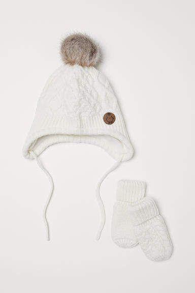 36b0cf1ca4b H M Hat and Mittens - White