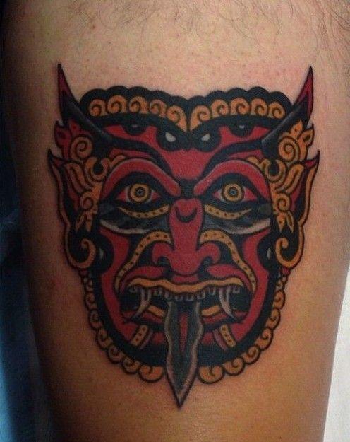 77b1435ba Red Devil Face Tattoo | Japanese Tattoos | Demon tattoo, Tattoos ...