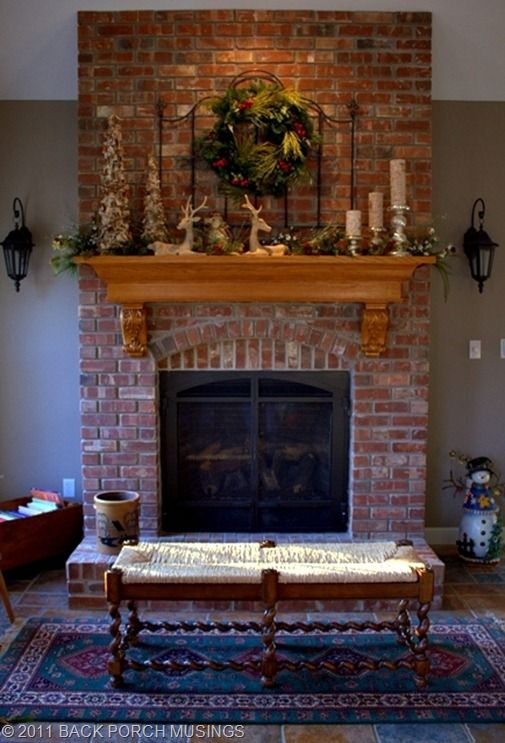 Hearth Room Christmas Back Porch Musings Brick Fireplace Decor Red Brick Fireplaces Eclectic Fireplaces