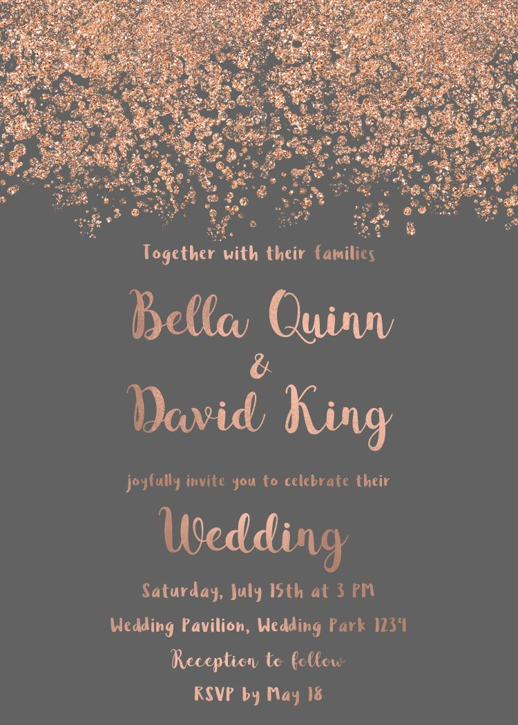 Wedding invitation rose gold, printable invitation simple wedding ...