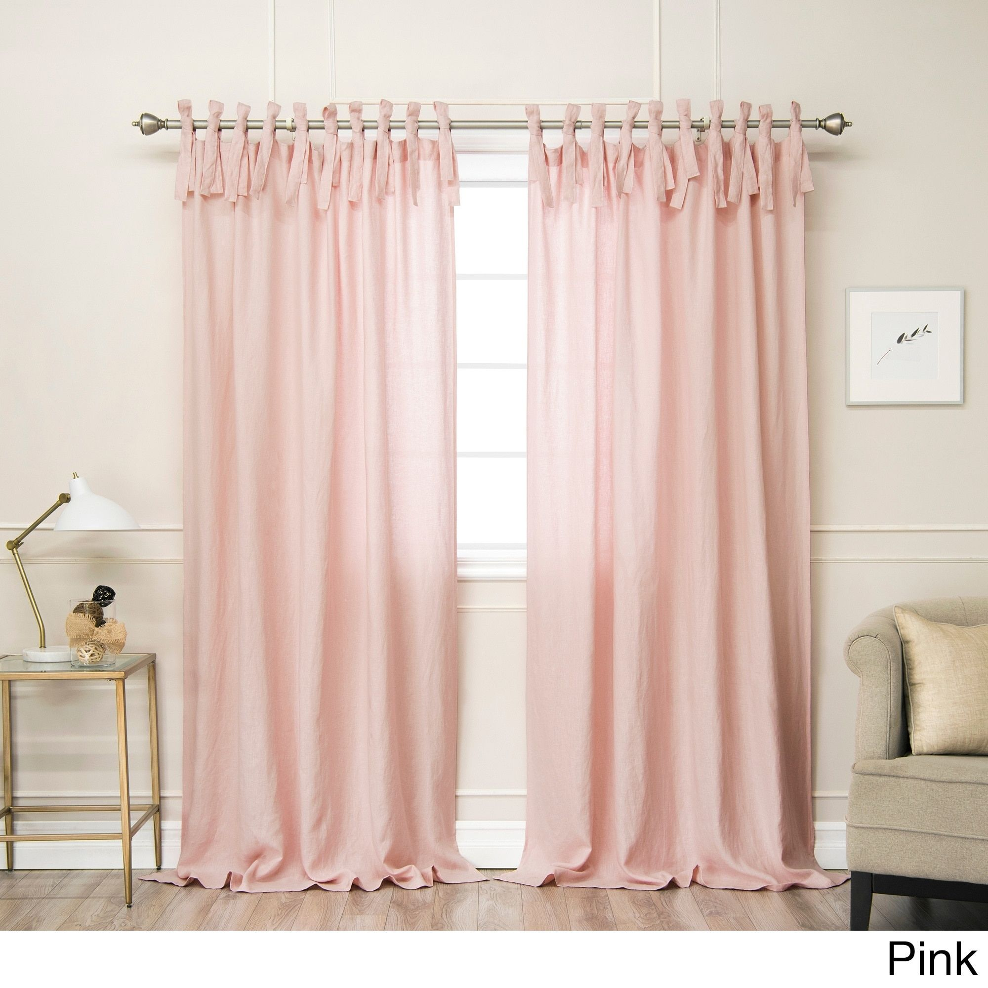 Aurora Home Belgian Flax Linen Tie Top Curtain Panel N A Pink 84 Inches