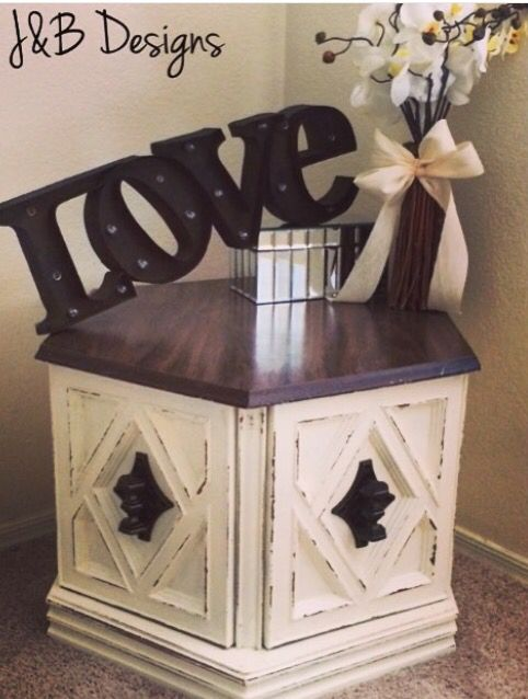 End table Hexagon end table refinished in cream chalk paint with
