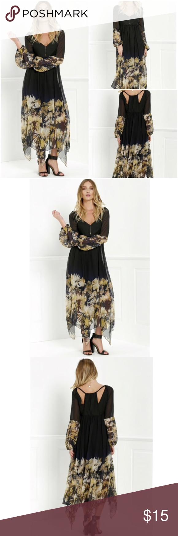 Zafulu long sleeve flower printed maxi dress nwt my posh closet