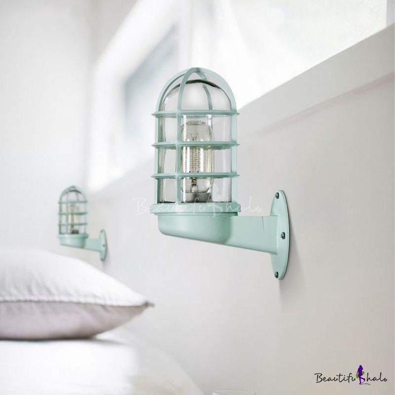 Nautical Cylinder Wall Sconce With Metal Cage For Bedside Bathroom