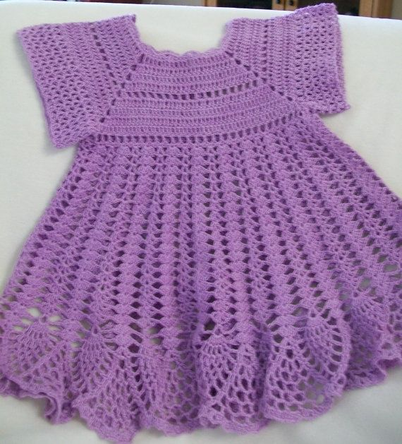 Crochet Baby Dress, Baby Girl Dress, Lavender, Handmade, Custom Made ...