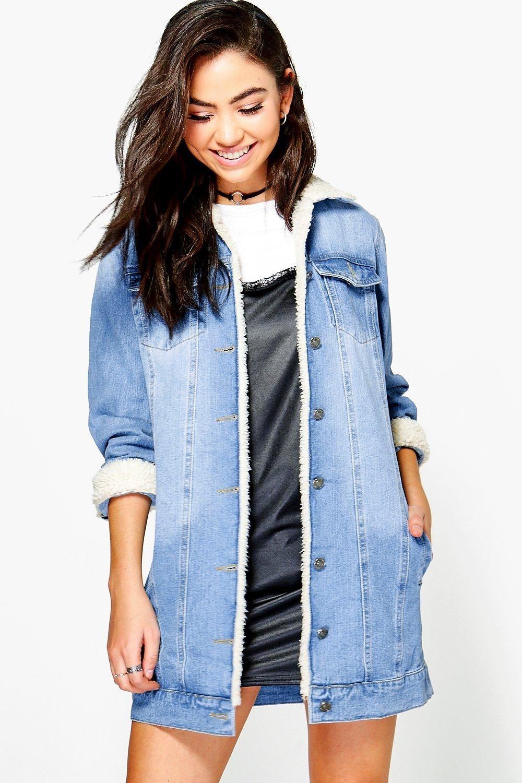Borg Longline Denim Jacket Boohoo Longline Denim Jacket Denim Jacket Women Borg Denim Jacket [ 1500 x 1000 Pixel ]