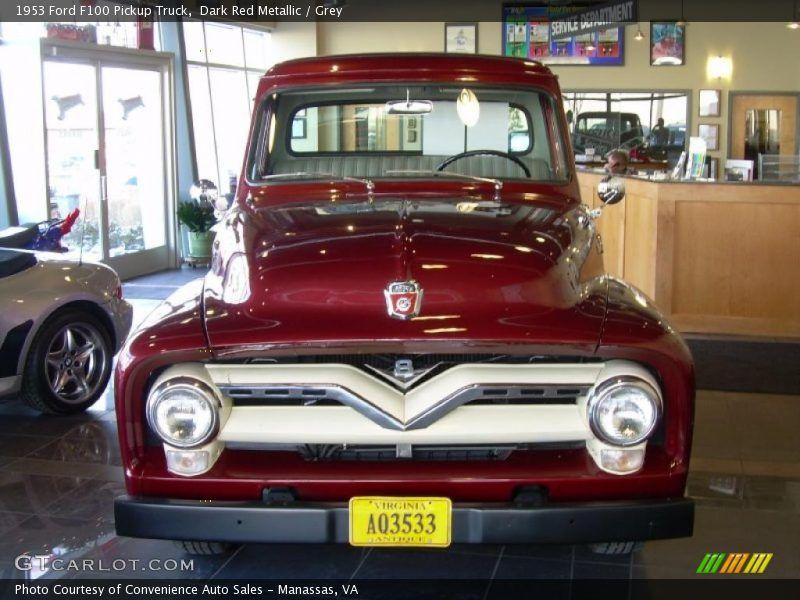 Dark Red Metallic / Grey 1953 Ford F100 Pickup Truck