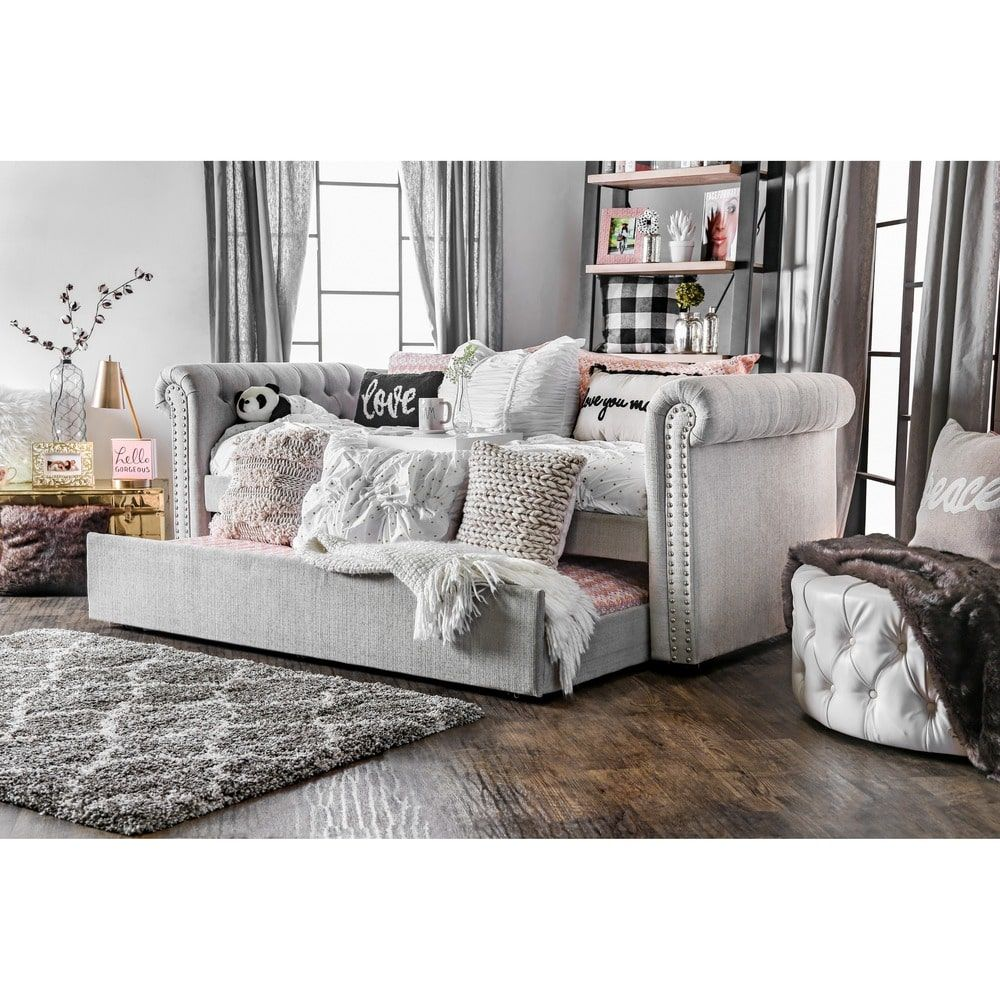Superbe Guest Room Furniture Of America Nellie Tuxedo Style Tufted Flax Daybed With  Twin Trundle