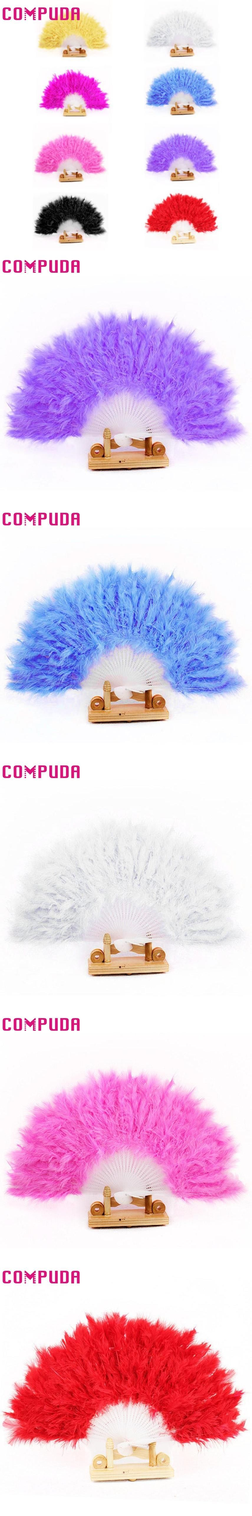Nice Feather Fan For Dance Props Hand Goose Feather Folding Fan ...
