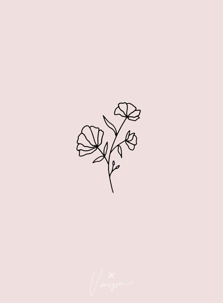so simple   line art flower floral black minimalist minimalism minimal simpli   - Flower Tattoo Designs -