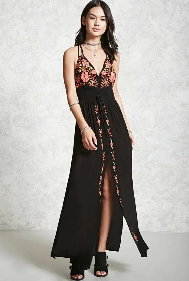 447efb98b0c Forever21 Black Floral Embroidered Maxi Dress