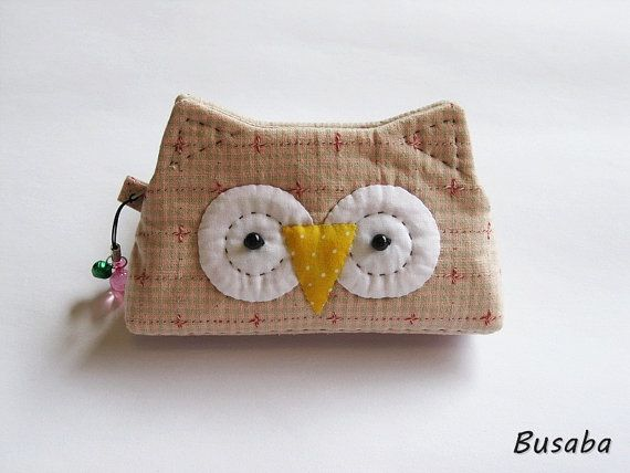 Handmade coin purse  - Owl -  Ready to Ship