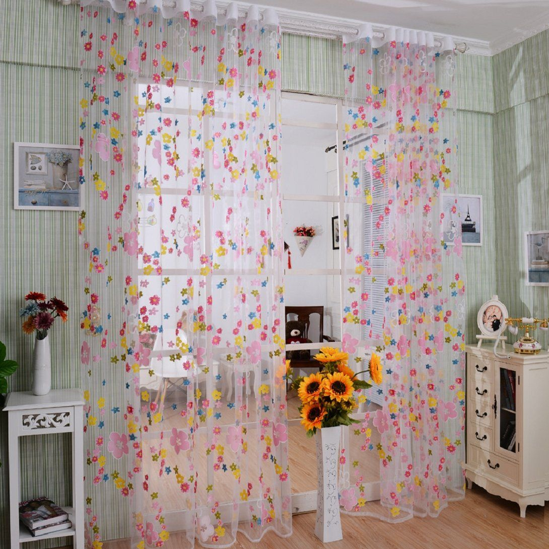 Amazon Com Wensltd Rainbow Flower Curtain Panel Set 98 By 39