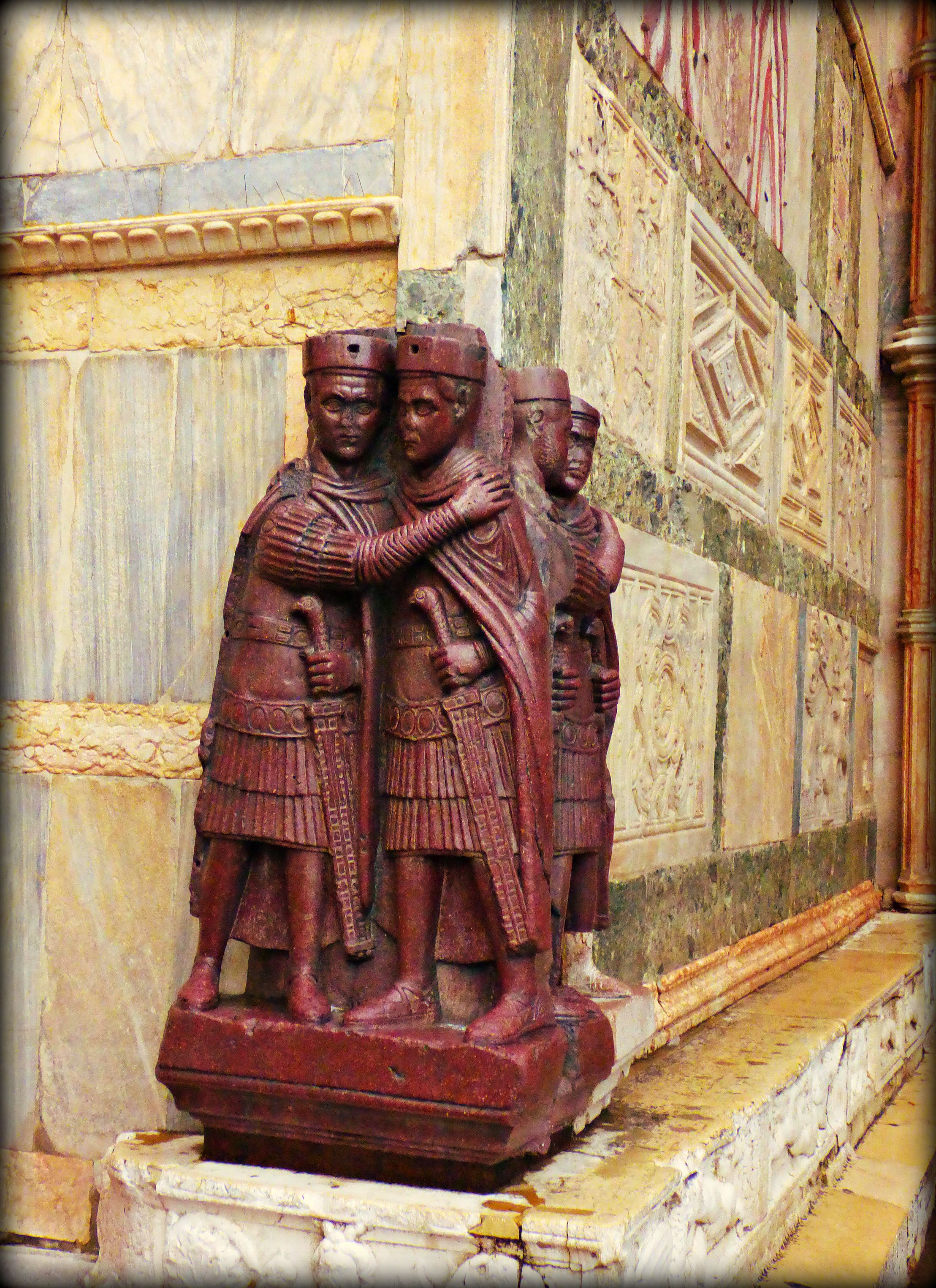 Four Tetrarchs - St. Mark's Basilia - Venice -  Jon Lander ©2016 - they stole this from Constantinople during the Fourth Crusade in 1204 and stuck it on the corner where it doesn't blend in at all, and it's been here for 800+ years. That's nerve.