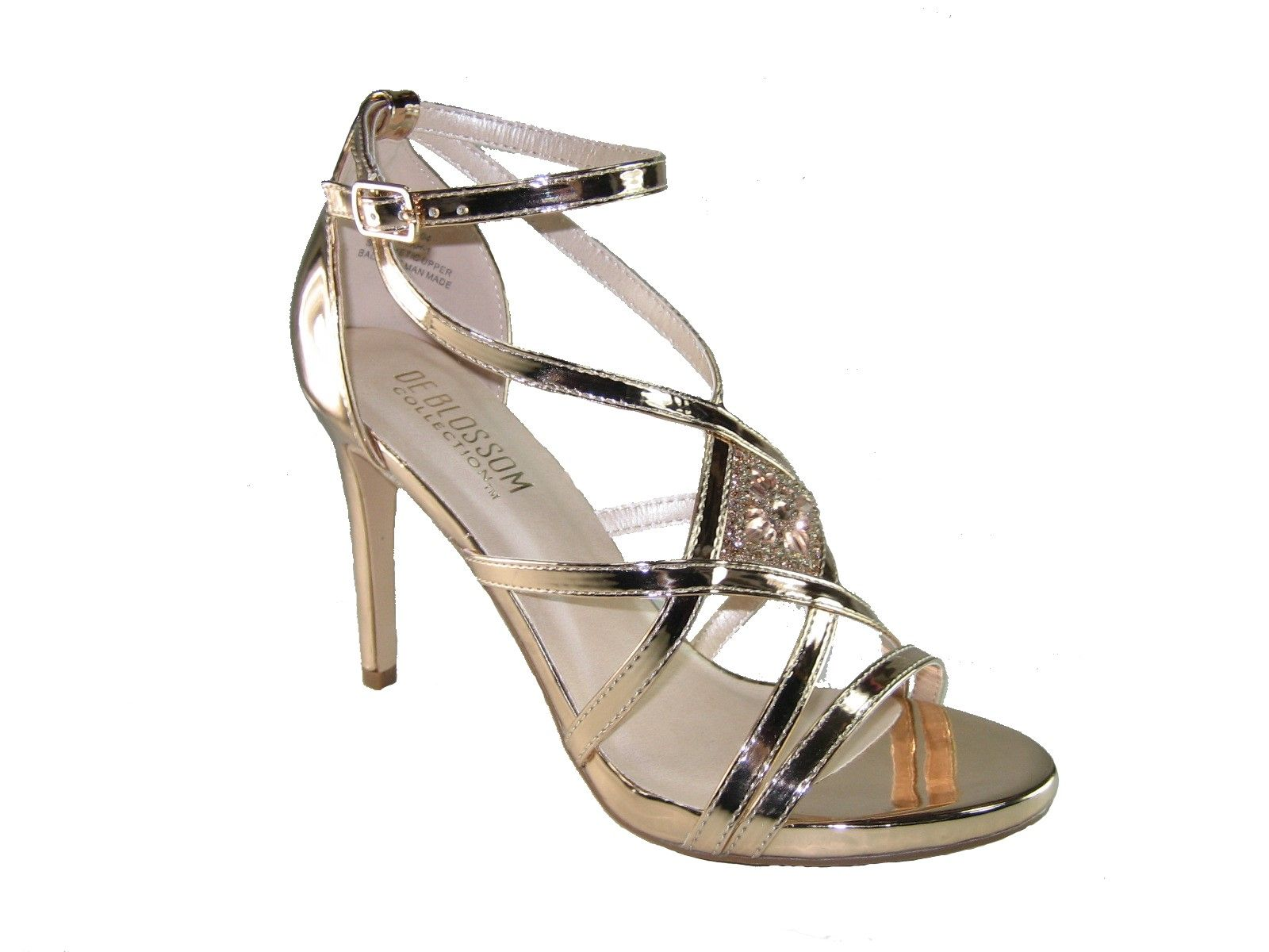 b9d8778a4d1 Blossom Leah-1 strappy 4 inch stiletto heel party sandals rose gold metallic
