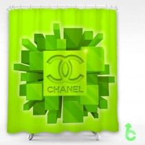 Chanel Green Cube Shower Curtain