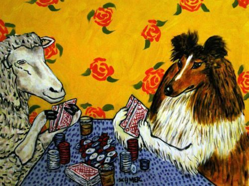 SHEEP  american pop art folk painting 13x19  gift wine bar modern GLOSSY PRINT