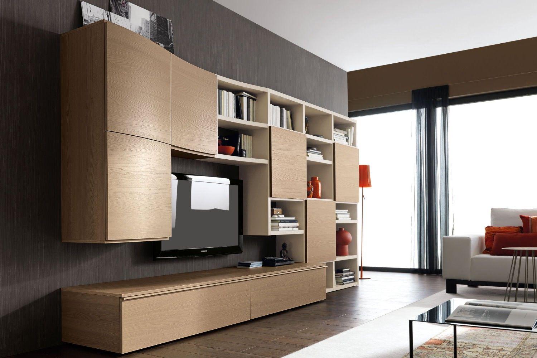 Parete attrezzata per soggiorno in legno chiaro 580 con