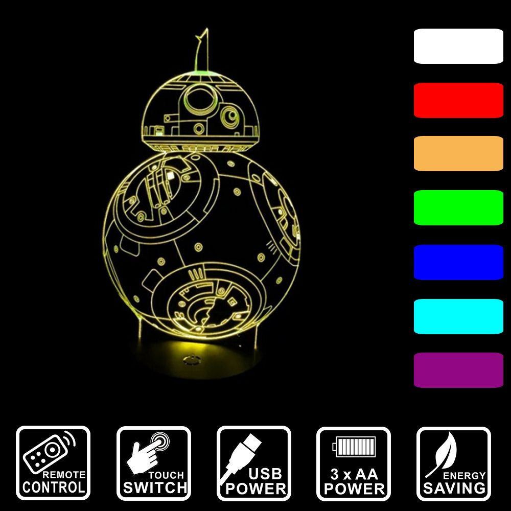 7 Colors Change 3d Visual Nightlight Star Wars Bb8 Robot Led Lamp For Kids Remote Control Touch Acrylic Usb Table La Star Night Light Night Light Star Wars Bb8