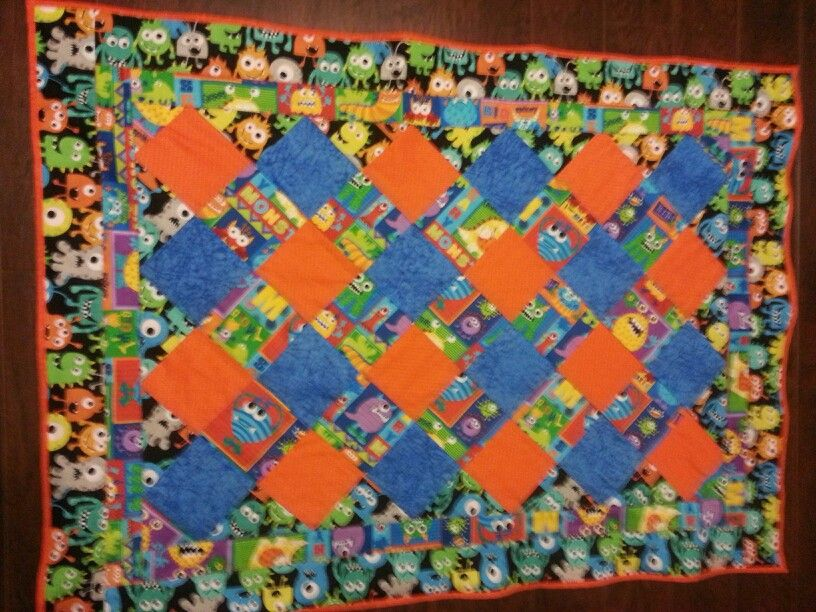 Monsters crib quilt
