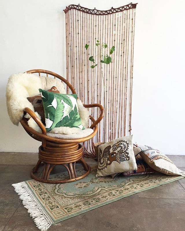 Swivel Chair Cushions Fishing With Cooler I Just Love Working Saturdays Beaded Curtain Sold Rattan W Cushion 385 Kilim Pillows 39 Palm Pillow 59 Sage