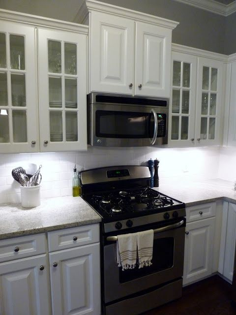 P Up The Cabinets Above Stove To Make More Room For Range Hood Microwave And Break Line Of Top
