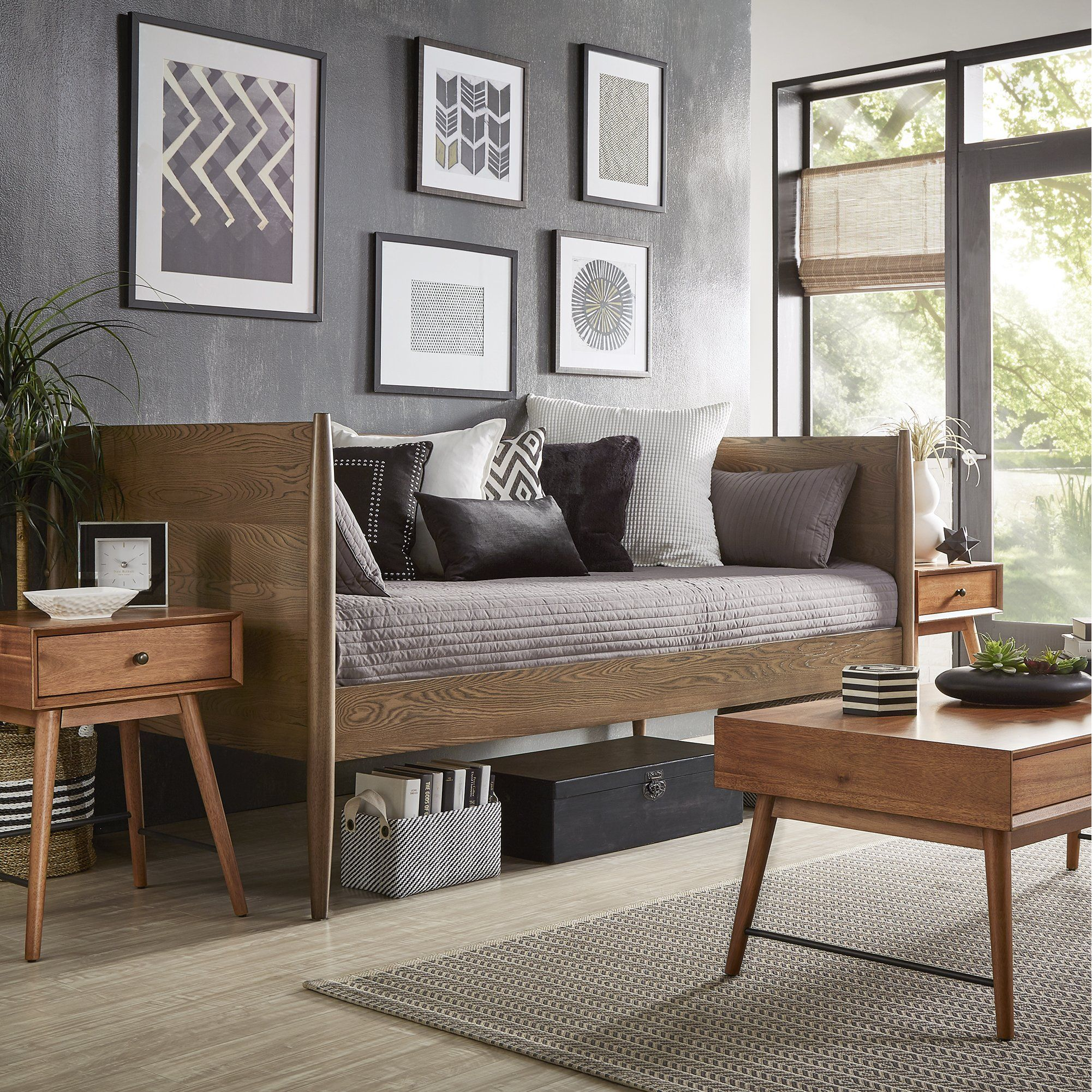 Bethany Mid-Century Modern Tapered Leg Wood Daybed by ...