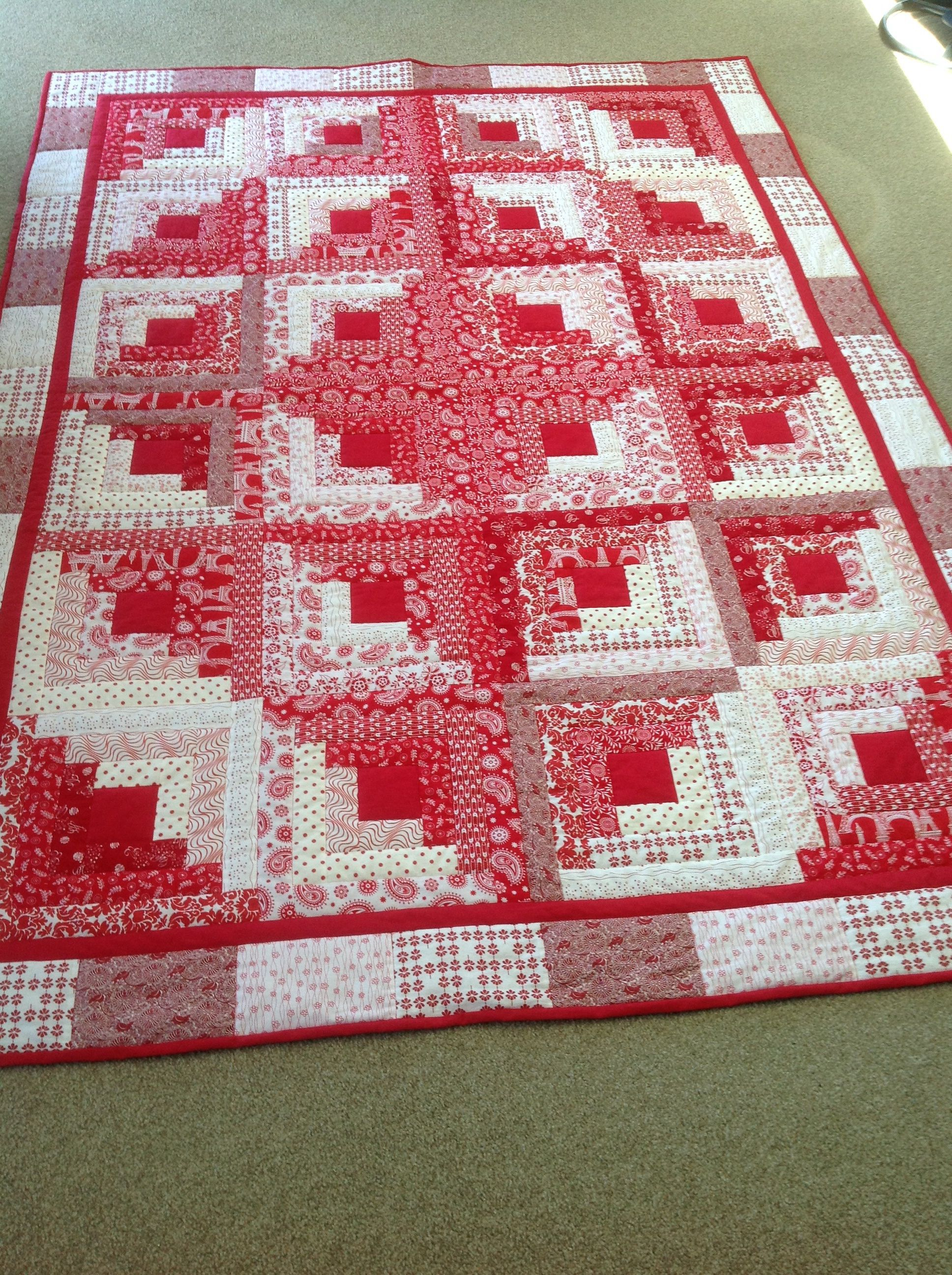 My red and white log cabin log cabin pinte - Patchwork ideen ...