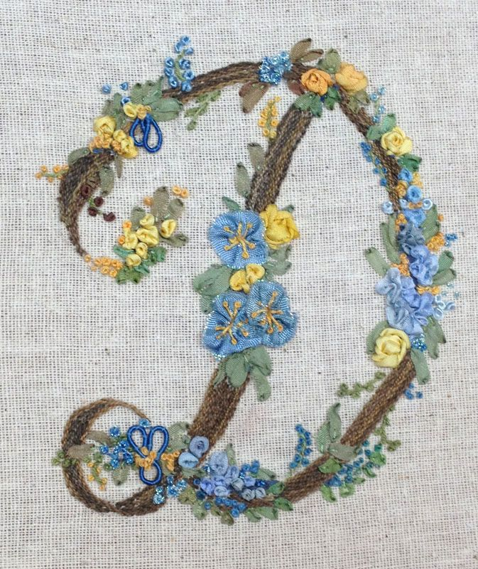 Victorian initial, letter D, silk ribbon embroidery   Maria   Pinterest