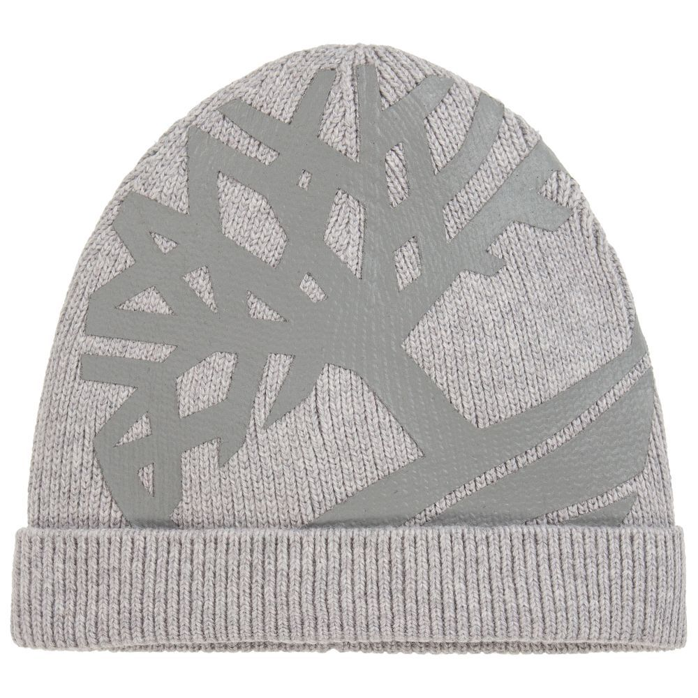 76bd7199 Boys Grey Cotton Knitted Hat for Boy by Timberland. Discover the latest  designer Hats for kids online
