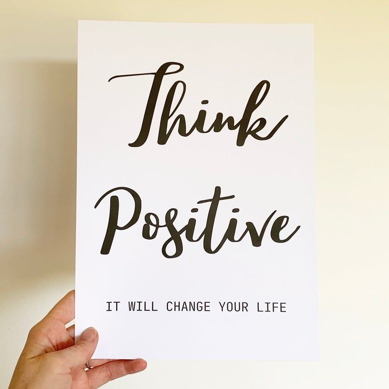 Think Positive Print Wall Art New Year New Me Gift for Him   Etsy