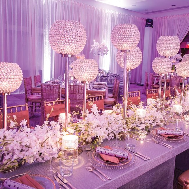 Evening Wedding Reception Decoration Ideas: Glittery Rhinestone & Orchid Centerpieces // Photo By: Eli