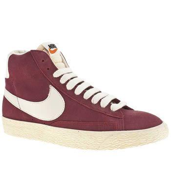 low priced e3235 d1943 Women s Burgundy Nike Blazer Mid Suede Vintage