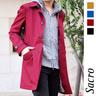 【楽天市場】スプリングコート ステンカラーコート メンズ シンプルな着こなしで楽しめるコート 大きいサイズまで対応する3Lサイズ ベージュ ブルー レッド ブラック(15569):select shop HK/エイチケー